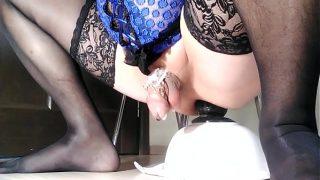 Sissy Oksana  anal fucking in chastity Part.2