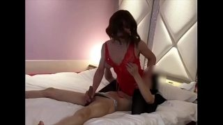Nasty Japanese shemale bitch enjoys endless sex with big hard cock